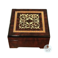 WOODEN MUSICAL JEWELLERY BOX WITH ARABESQUE INLAY SMALL TUNE FUR ELSIE