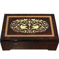 WOODEN MUSICAL JEWELLERY BOX WITH ARABESQUE INLAY LARGE TUNE AMAZING GRACE