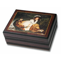 WOODEN MUSICAL JEWELLERY BOX LADY IN RIVER BOAT TUNE WATER MUSIC
