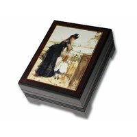 Wooden Musical Jewellery Box Lady In Black With Child Tune Tristesses