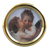 GOLD ROUND ACRYLIC MUSIC BOX WITH CHERUBS TUNE CLAIR DE LUNE