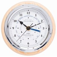 ASH MARITIME WOOD TIDE CLOCK/CLOCK 17CM BY FISCHER