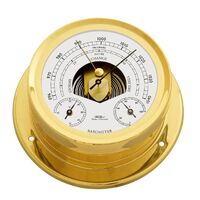 BRASS MARITIME BAROMETER/THERMOMETER/HYGROMETER 16.5CM BY FISCHER