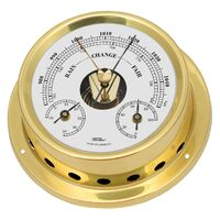 BRASS MARITIME BAROMETER/THERMOMETER/HYGROMETER 12.5CM BY FISCHER