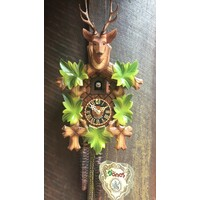 CARVED 1 DAY 5 LEAF WITH DEER HEAD COLOURED 30CM CUCKOO CLOCK BY HONES