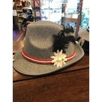 Hat - Trilby Grey Ladies Red Cord