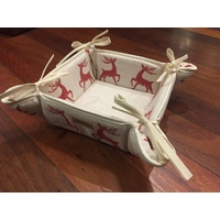 REINDEER RED BREAD BASKET BY SCHATZ