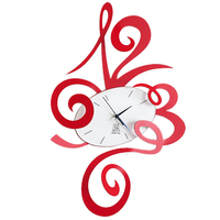 Dark Red Robin Modern Wall Clock 34cm By Arti Mestier
