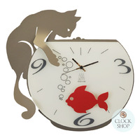 Black/red Tommy & Fish Modern Wall Clock By Arti Messtier