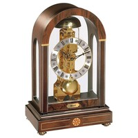 Walnut Skeleton Table Clock With Inlay By HERMLE