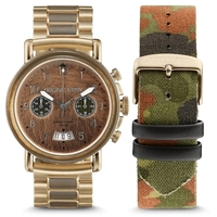 Military Chrono Gold Steel Band with Camo Strap