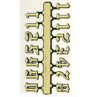 GOLD OLD ENGLISH NUMERALS 20MM