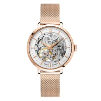 ROSE GOLD AUTOMATIC SKELETON WATCH - WHITE DIAL ROSE GOLD MESH BAND BY PIERRE LANNIER