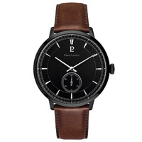 Black Allure Watch - Black Dial Brown Leather Band By PIERRE LANNIER