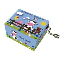 Music Box Hand Crank COW - OLD MCDONALD HAD A FARM