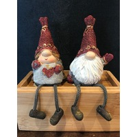 GNOME WITH DANGLE LEGS RED AND GREY 15CM 2 DESIGNS