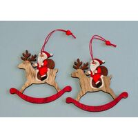 SANTA SITTING ON ROCKING HORSE HANGING DECORATION 10CM