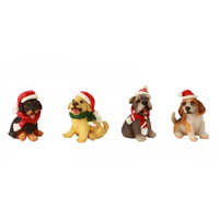 Dogs In Santa Hats Christmas Decoration 7cm