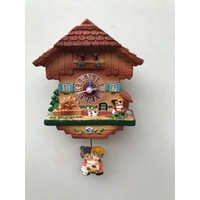 KISSING COUPLE CUCKOO CLOCK FRIDGE MAGNET WITH SWINGING BOY & GIRL ON PENDULUM