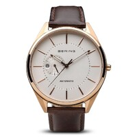 GENTS AUTOMATIC ROSE GOLD & BROWN LEATHER WATCH BY BERING