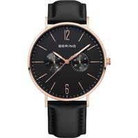 Watch - Bering Gents Classic 14240-166  Black Mesh + Leather Strap
