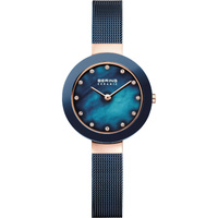 CLASSIC COLLECTION BLUE DIAL WITH BLUE MILANESE STRAP SWAROVSKI ELEMENTS BY BERING