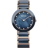 Watch - Bering Ladies Ceramic 11429 Blue Rose Ceramic Link