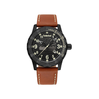 Clarksburg Black Case Black Dial Brown Strap