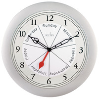 VELHA - SILVER DAY OF THE WEEK WALL CLOCK 25CM