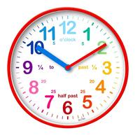 WICKFORD - RED CHILDREN'S TEACHING TIME WALL CLOCK 20CM BY ACCTIM