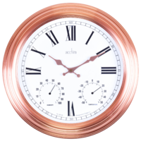 GRASMOR-  INDOOR / OUTDOOR COPPER WALL CLOCK WITH WEATHER DIALS 42CM BY ACCTIM