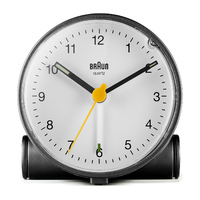 BLACK ANALOGUE CLASSIC ALARM CLOCK WITH WHITE DIAL BY BRAUN