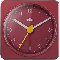 RED CLASSIC ANALOGUE TRAVEL ALARM CLOCK BY BRAUN