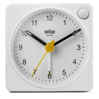 WHITE CLASSIC ANALOGUE TRAVEL ALARM CLOCK BY BRAUN *NEW MODEL WITH LIGHT