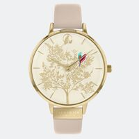 GOLD CHELSEA LOVE BIRDS BEIGE LEATHER BAND BY SARA MILLER