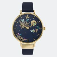 GOLD CHELSEA NAVY BIRDS IN MOON DIAL LEATHER BAND BY SARA MILLER