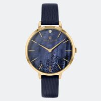 GOLD DIAMOND NAVY LEATHER BAND BY SARA MILLER