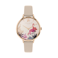 ROSE GOLD TROPICAL FLAMINGO SAND LEATHER BAND BY SARA MILLER