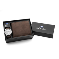SILVER WATCH WITH SILVER DIAL BROWN STRAP WALLET GIFT PACK  BY BEN SHERMAN