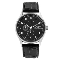 Silver Watch With Black Chrono Dial Black Croco Strap By BEN SHERMAN