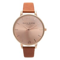 Big Dial Tan & Rose Gold Leather