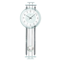 SILVER BATTERY WALL CLOCK WITH WESTMINSTER CHIME BY AMS