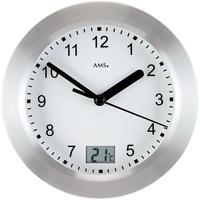 SILVER BATTERY BATHROOM WALL CLOCK WITH TEMPERATURE ROUND 17CM BY AMS