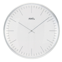 SILVER BATTERY WALL CLOCK PLAIN WITH INDEX ROUND 40CM BY AMS