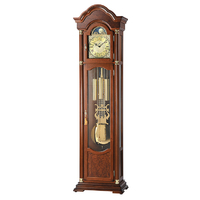 WALNUT GRANDFATHER CLOCK WITH WESTMINSTER CHIME AND BRASS COLLARS BY AMS