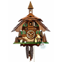 Chalet 1 Day Wood Chopper With Bell Tower 31cm Cuckoo Clock By ENGSTLER