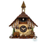 Chalet Battery Dog & Deer With Bench Seat 22cm Table Cuckoo Clock By ENGSTLER