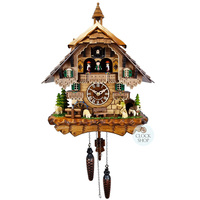 CHALET BATTERY WALKER WITH SHEEP AND DANCERS 42CM CUCKOO CLOCK BY ENGSTLER