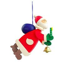 SANTA WITH TREE AND BELL 8.5CM HANGING