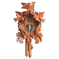 CARVED 1 DAY LEAF & BIRDS ON THE SIDE WITH WOODEN WEIGHT 42CM CUCKOO CLOCK BY HONES